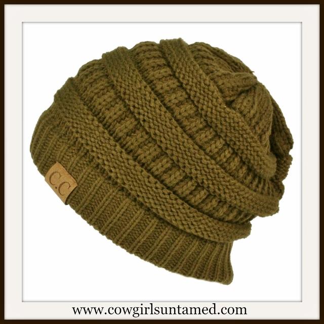 BEANIE CAP  Unisex Chunky Warm Knit Designer Olive Beanie Cap
