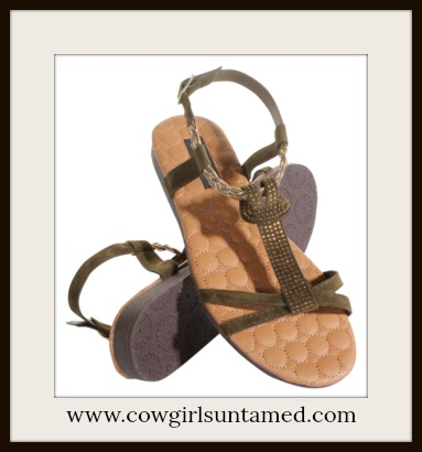 BOHEMIAN COWGIRL SANDALS Crystal T Strap Olive Green Sandals