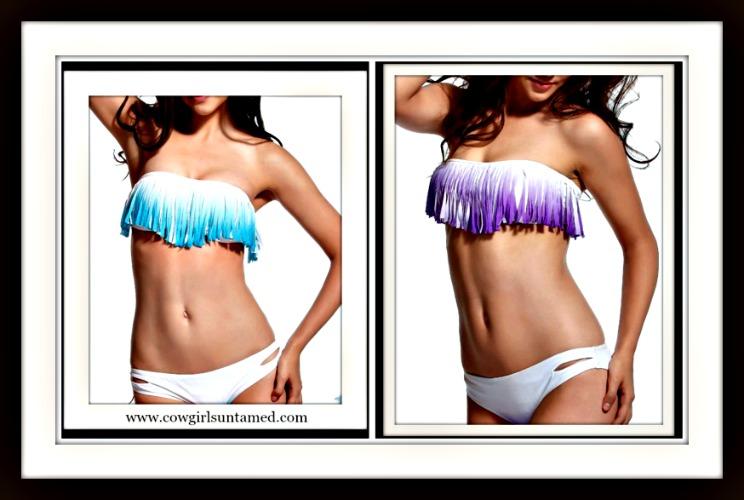 COWGIRL GYPSY BIKINI Aqua or Purple Ombre Fringe Strapless Top WHITE Bikini Set