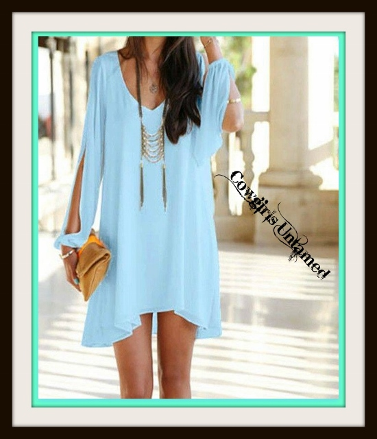 COWGIRL GYPSY DRESS Aqua Open Slit Sleeve Hi Low Hemline Mini Dress / Tunic Top