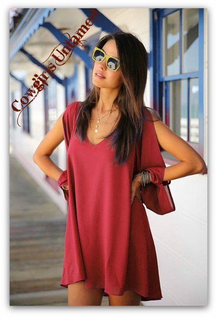 COWGIRL GYPSY TOP Wine Red Open Sleeve Hi Low Hemline Western Tunic Top Mini Dress
