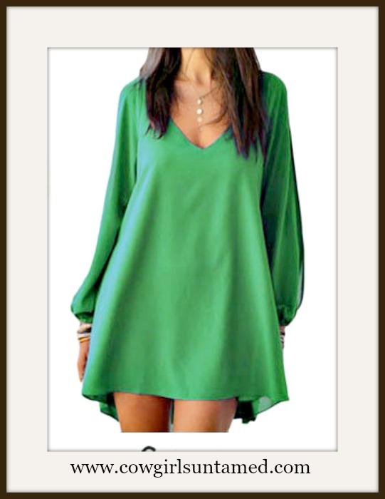 COWGIRL GYPSY DRESS Green Open Slit Sleeve High Low Mini Dress / Tunic Top