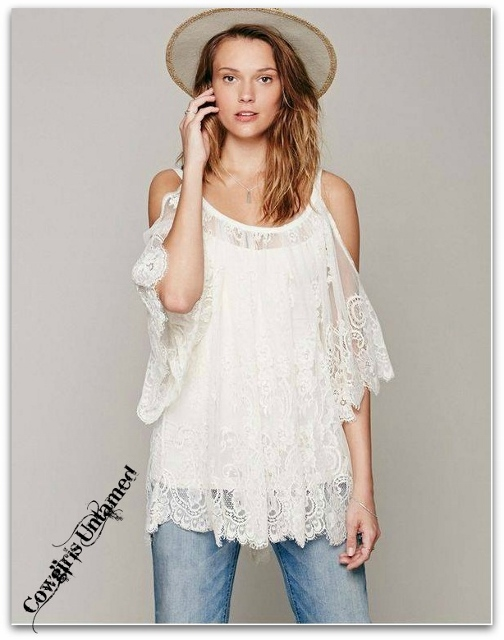 COWGIRL GYPSY TOP Open Shoulder Loose Fit Embroidered Lace Boho Tunic Top