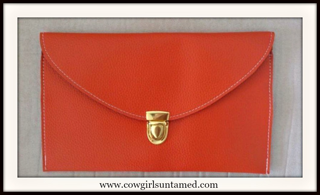 COWGIRL GLAM CLUTCH Orange Faux Leather Slim Clutch Purse with Gold Chain