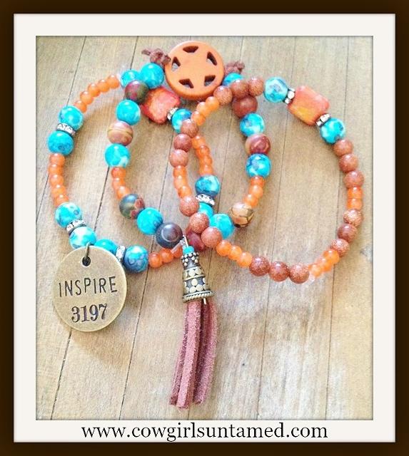 "WESTERN COWGIRL BRACELET SET ""Inspire""  Orange Turquoise Star Gemstone N' Brown Charm Stretch Bracelet 3 Piece Set"