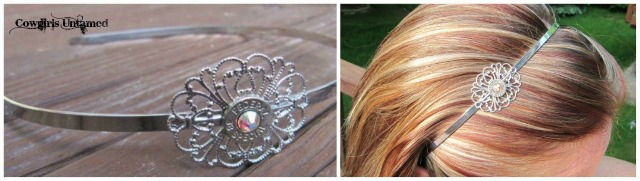 COWGIRL OUTLAW HEADBAND 38 Special Silver Filigree with Swarovski Crystal Accents Small Thin Cut Western Headband