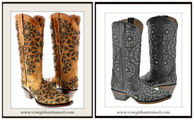 COWGIRL STYLE BOOTS Silver Studded Floral Overlay GENUINE LEATHER Boots