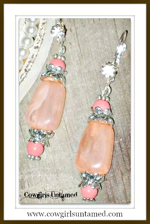 COWGIRL JUNK GYPSY EARRINGS Pastel Peach & Coral Vintage Beads Antique Silver Rhinestone Earrings