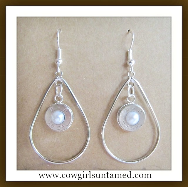 OUTLAW COWGIRL EARRINGS 38 Special Silver and Pearl Hoop Earrings