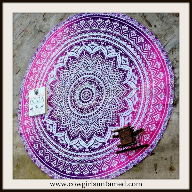 COWGIRL GYPSY COVER UP Shades of Purple Floral & Geometric Chiffon Boho Mandala Cover Up