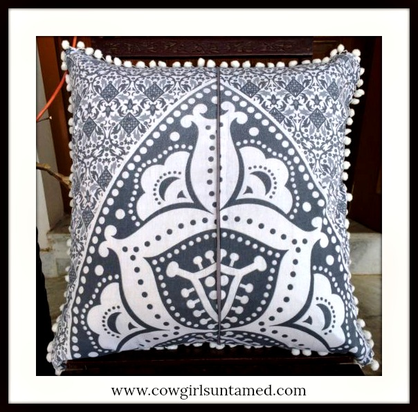 BOHEMIAN HOME DECOR Grey Moroccan Design on White Pom Pom Embellished Pillow Case