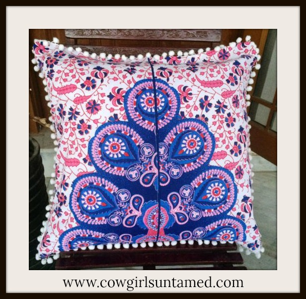 BOHEMIAN HOME DECOR Pink and Purple Moroccan Design on White Pom Pom Embellished Pillow Case