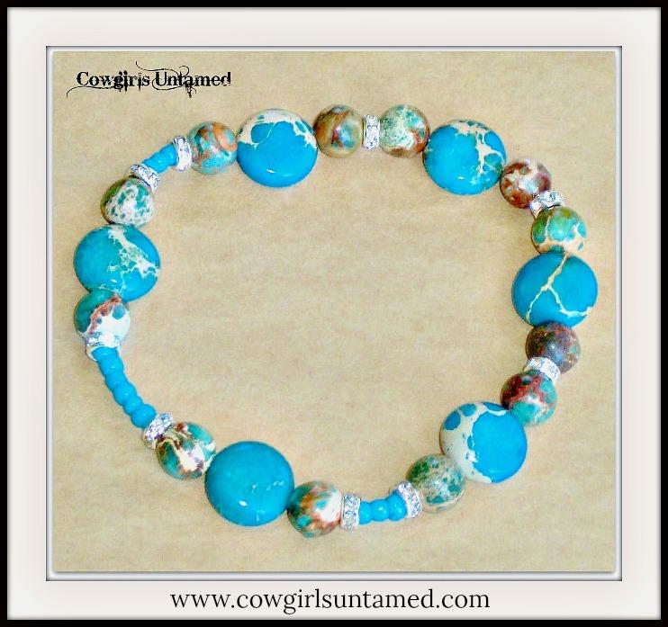 WILDFLOWER BRACELET San Pablo  Blue Sea Sedmiment Jasper Gemstone with Turquoise & Rhinestone Stretch Bracelet