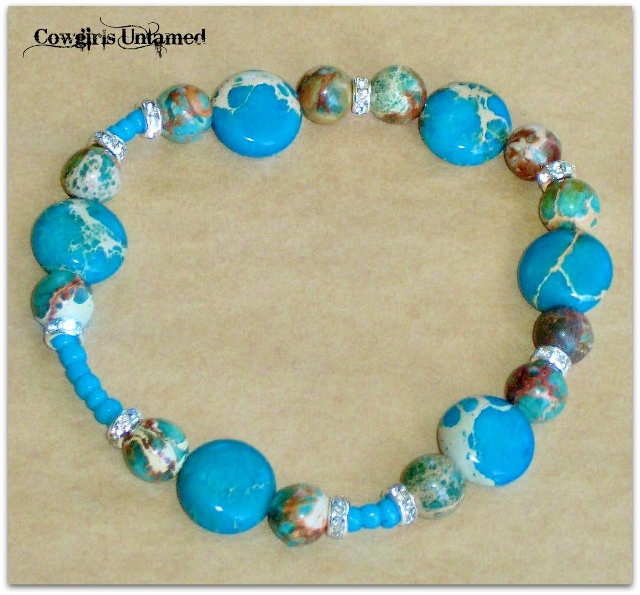 WILDFLOWER BRACELET San Pablo  Blue Sea Sedmiment Jasper Gemstone with Turquoise & Rhinestone Stretch Bracelet