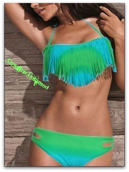 COWGIRL GYPSY BIKINI Blue & Green Ombre Fringe Padded Top Boho Western 2 piece Bikini