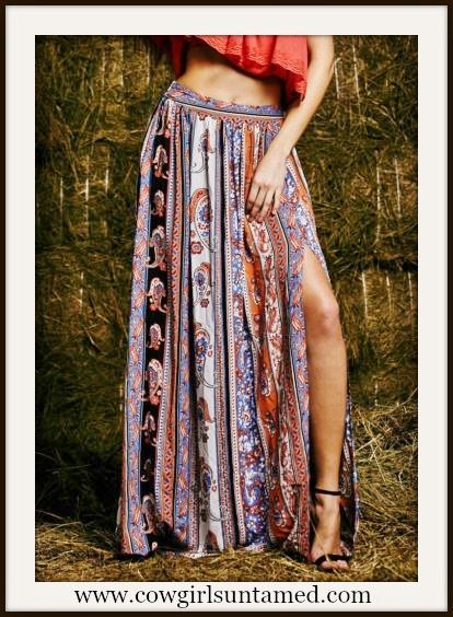 WILD FLOWER SKIRT Floral Paisley Boho Maxi Skirt