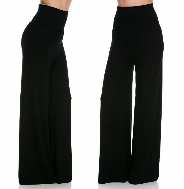 COWGIRL GYPSY Long Black High Waist Flare Leg Palazzo Yoga Pants ...