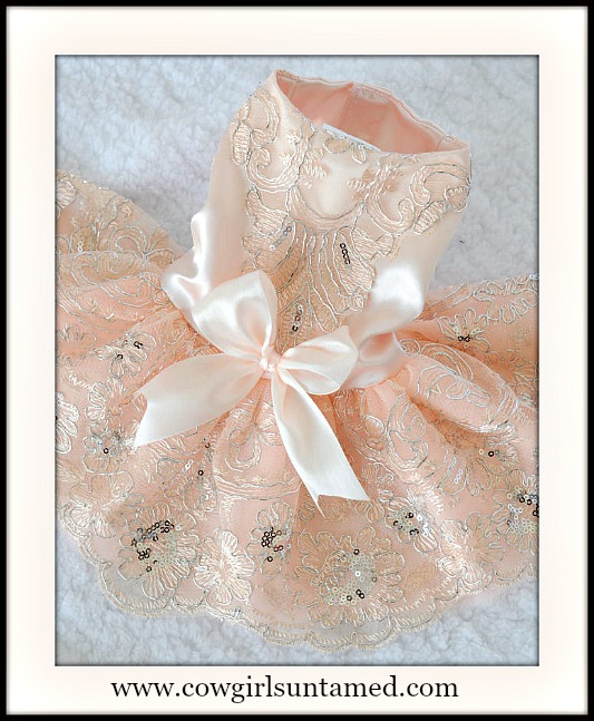 BLINGIN' BESTIES Pale Pink Sequin Doggie Princess Dress