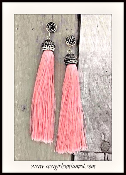 VINTAGE BOHEMIAN EARRINGS Pink Long Tassel Beaded Crystal Silver Boho Earrings