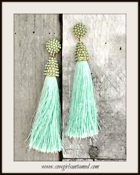 VINTAGE BOHEMIAN EARRINGS Mint Silk Tassel on Beaded Post Earrings