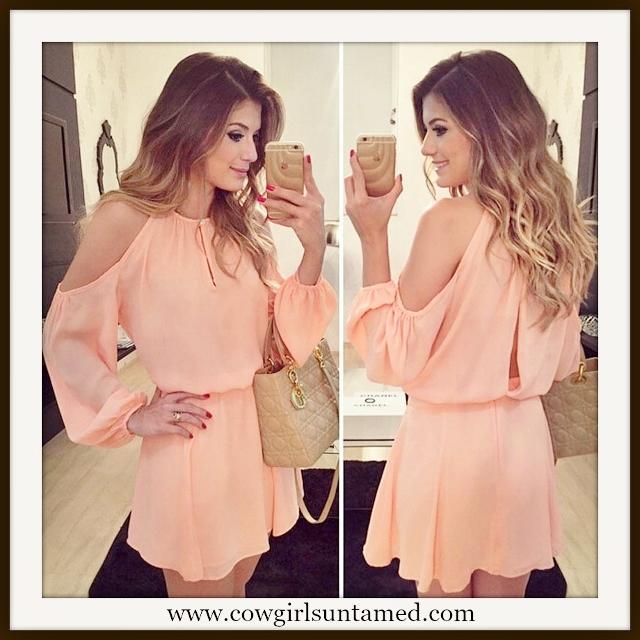 COWGIRL CHIC DRESS Open Shoulder and Back Long Sleeve Chiffon Mini Dress
