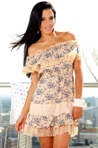 COUNTRY COWGIRL DRESS  Peach Lace on Blue & Grey Floral Dress