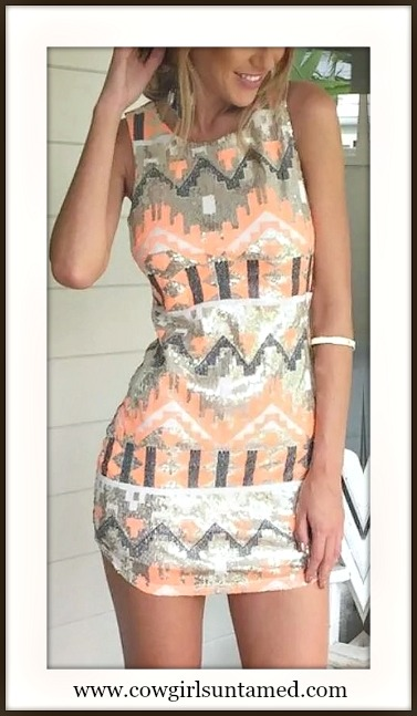 COWGIRL STYLE DRESS Sleeveless Peach N' Grey Aztec Bodycon Mini Dress