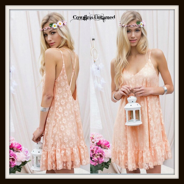 WILD FLOWER DRESS Peach Lace N' Ruffle Criss Cross Back Boho Mini Dress