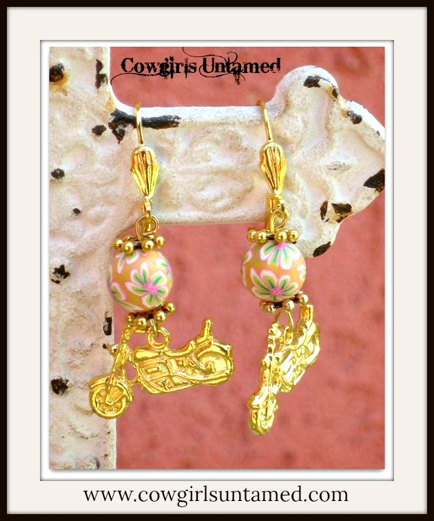 COWGIRL BIKER EARRINGS Peach Flower Bead with Gold Tone Motorcycle Charm Earring