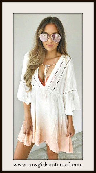 COWGIRL GYPSY DRESS Deep V 3/4 Sleeve Peach Ombre White Lace Dress