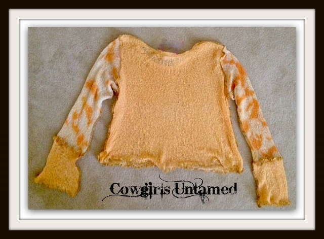 COWGIRL GYPSY TOP Peachy Orange & Cream Long Sleeve Knit Cropped Boho Top / Cover Up