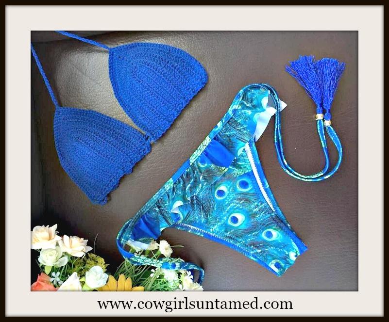 COWGIRL GYPSY BIKINI Blue Lace Crochet Top & Peacock Fringe String Bottom Bikini Set