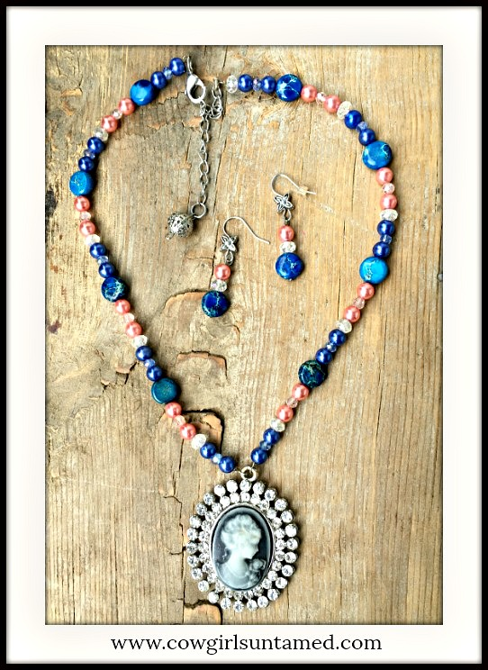 SOUTHERN BELLE JEWELRY SET Rhinestone Blue Cameo on Gemstone & Pearl Beaded Necklace Set
