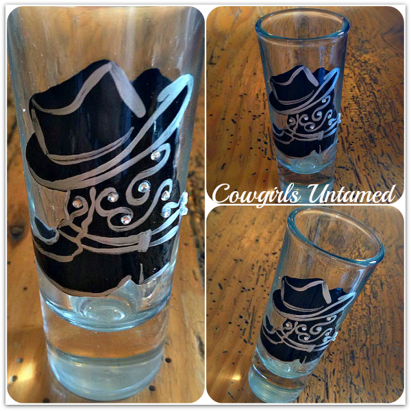 COWGIRL STYLE GLASS Black Gold Bronze Western Boots With Rhinestone Crystal Cowboy Hat Western Shot Glass