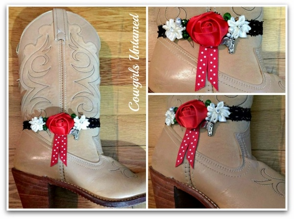 WILDFLOWER BOOT JEWELRY Christmas Red White Sunflower and Polka Dot Ribbon with Pearls & Crystals and Antique Silver Horse Charm Boot Cuff