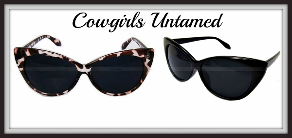 COWGIRL PINUP SUNGLASSES Black and Leopard Retro Cat Eye Sunglasses
