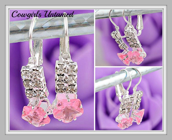 COWGIRL GLAM EARRINGS Small Pink Topaz Gemstone Silver Dangle Earring