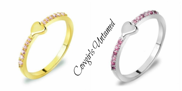 COWGIRL GLAM RING Platinum Simple Heart Design Pink Ring