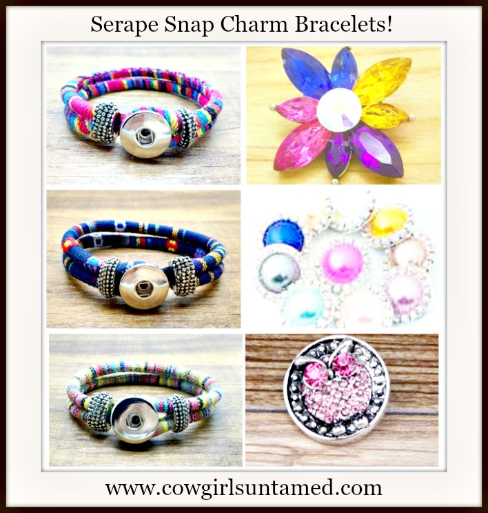 COWGIRL STYLE BRACELETS Crystal Snap Charms on Serape Cloth Wrapped Double Strand Bracelets