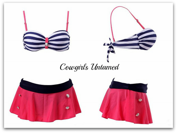 COWGIRL PINUP SWIMSUIT Sailor Swimsuit Striped Button High Waist Bikini