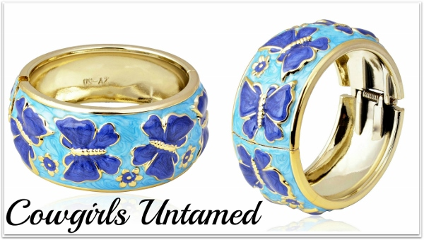COWGIRL GYPSY CUFF Gold Tone Blue Inlay Butterfly Curve Bangle Bracelet