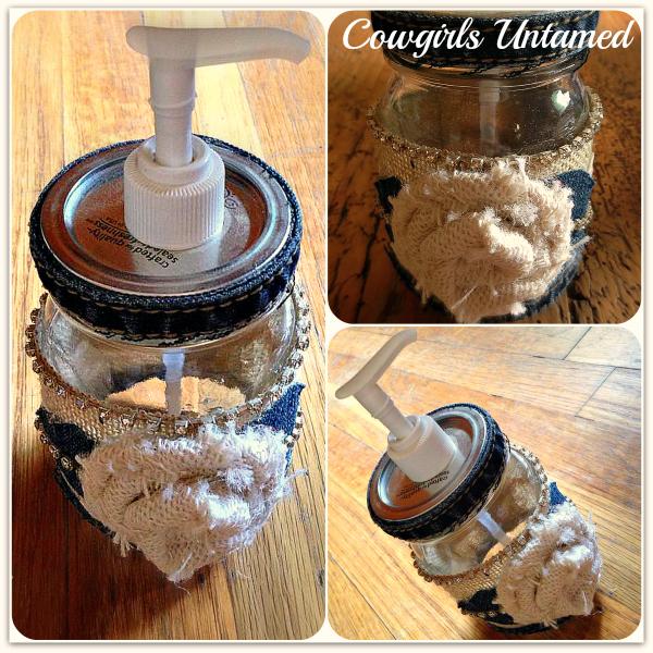 FARMHOUSE COUNTRY CHIC DECOR Denim & White Cloth Rose N Rhinstone Crystal Trim Mason Jar Dispenser
