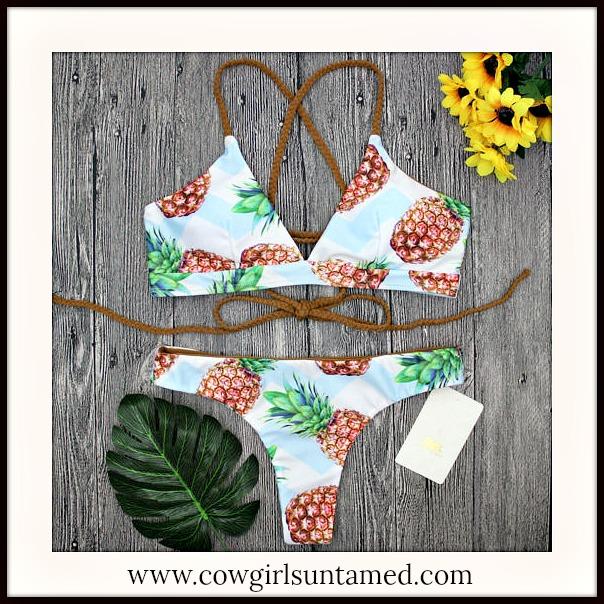 SOUTHERN BELLE BIKINI Pineapple Design Lace Up Back Bikini