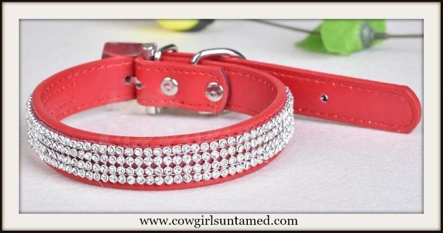 BLINGIN' BESTIES Rhinestone Studded Faux Leather Pet Collar