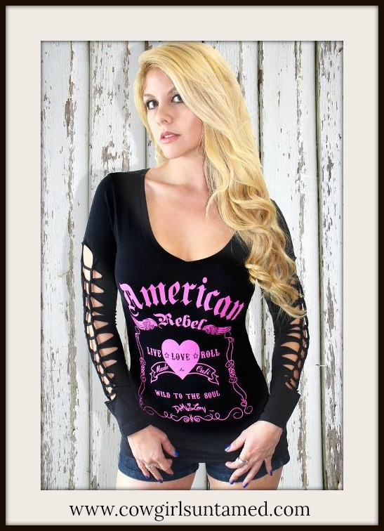 "COWGIRL ATTITUDE TOP Pink Heart ""American Rebel Live Love Roll Wild to the Soul"" Black Long Sleeve Top"