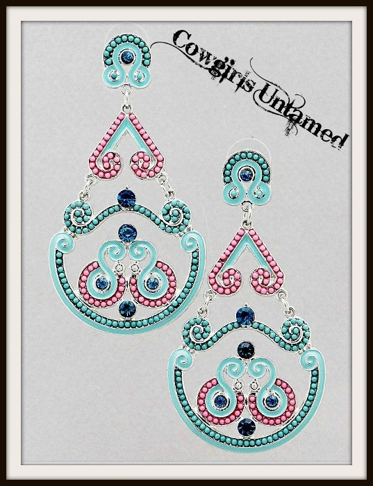 COWGIRL GYPSY Pink Aqua Stone with Blue Topaz Gold Chandelier – Aqua Chandelier Earrings