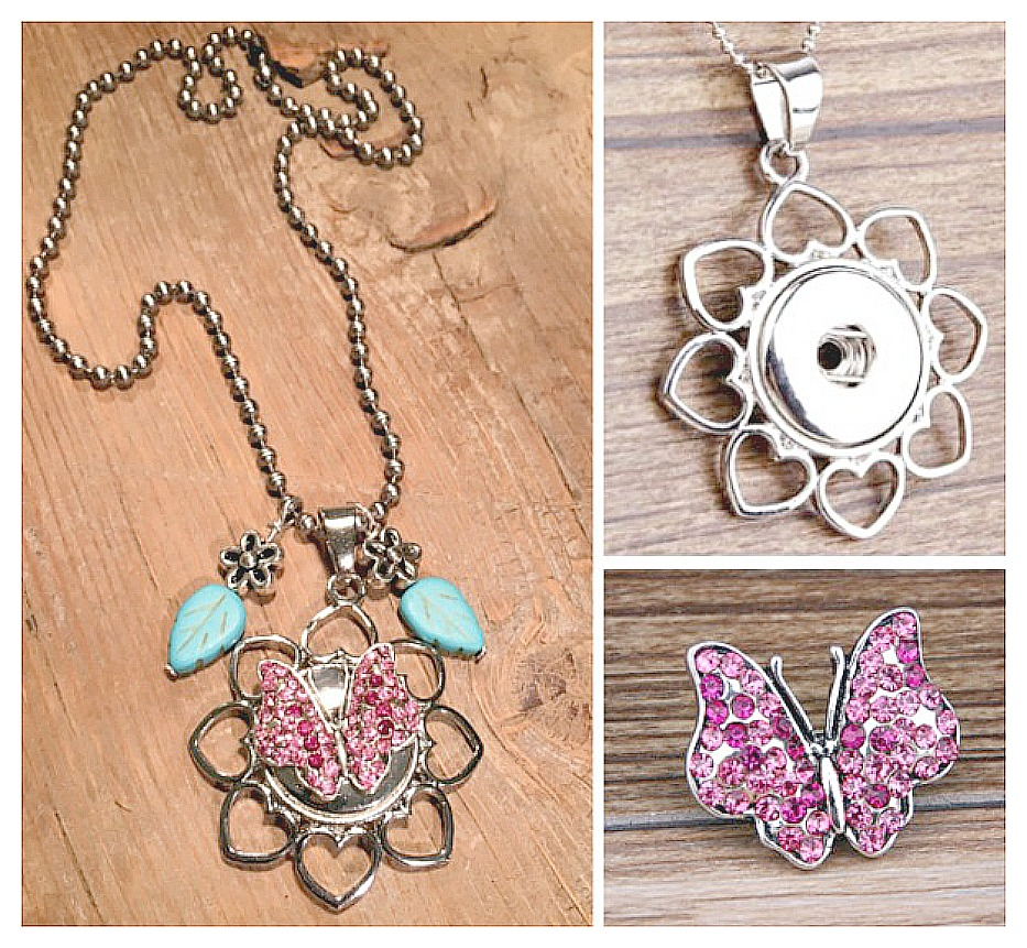 COWGIRL ATTITUDE NECKLACE Pink Butterfly Snap on Silver Heart Petal Flower Pendant with Turquoise Leaf Flower Charm Necklace