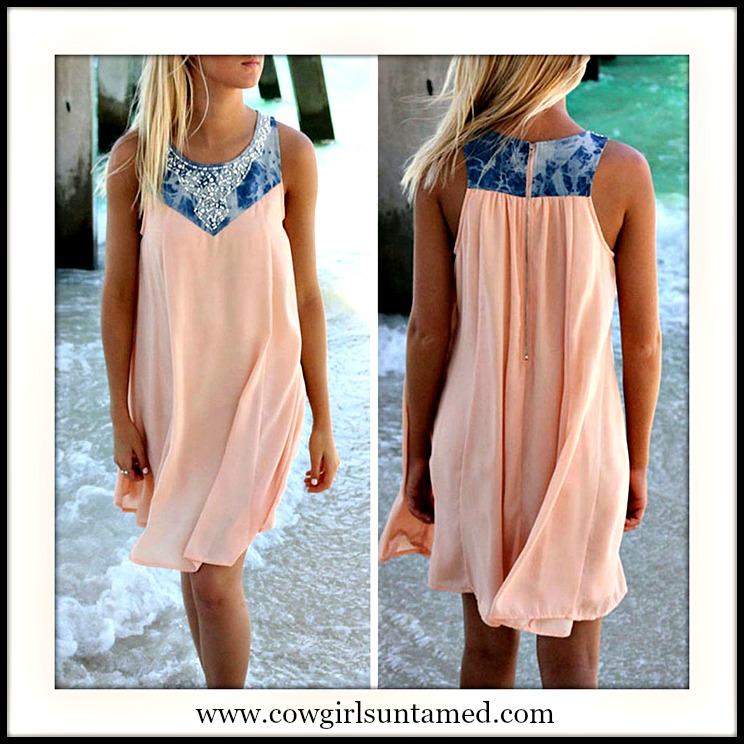 COWGIRL STYLE DRESS Rhinestone Embelished Denim on Sleeveless Pink Chiffon Dress