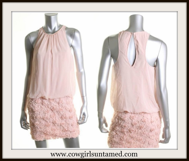 COWGIRL GLAM DRESS Pink Chiffon N' Lace Keyhole Back Halter Designer Mini Dress