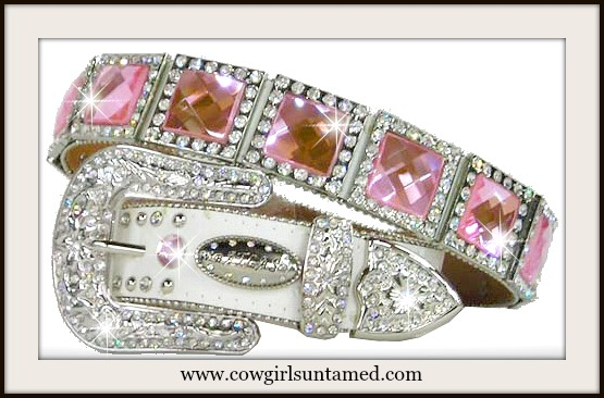 COWGIRL GLAM BELT Pink Crystal Rhinestone Concho White Leather Belt